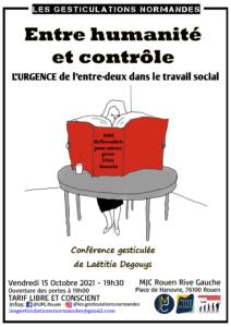 """Laëtitia DEGOUYS - Conférence gesticulée """"Entre humanité et contrôle : l'urgence de l'entre deux en travail social"""""""